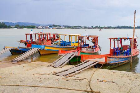 koh kho khao: Long tail boats on the coast of Andaman sea in Thailand