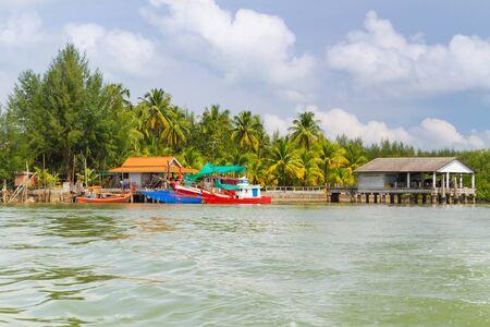 koh kho khao: Fishing boats at the river in Koh Kho Khao, Thailand Stock Photo