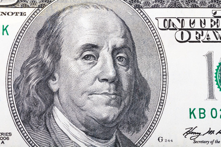 the franklin: Benjamin Franklin portrait from hundred dollars banknote
