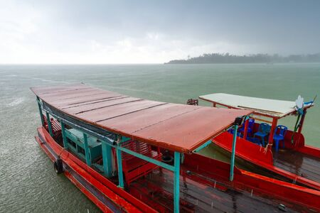 koh kho khao: Long tail boats on the river before storm in Koh Kho Khao, Thailand