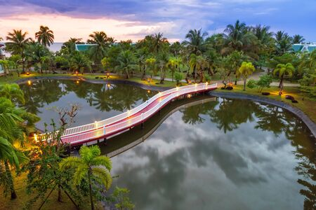 koh kho khao: Tropical scenery of palm trees reflected in pond at sunset, Thailand Stock Photo