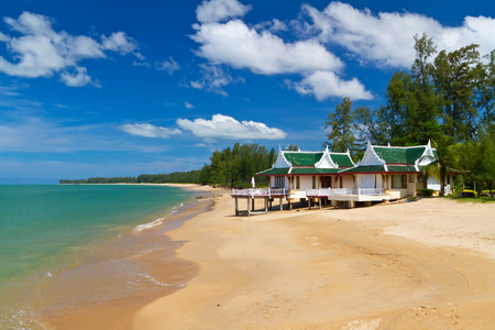 koh kho khao: Oriental architecture of a holiday house on the beach of Thailand
