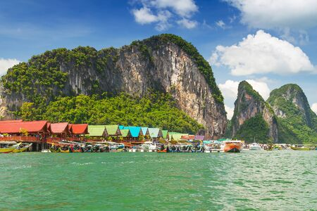 Koh Panyee settlement built on stilts of Phang Nga Bay, Thailand