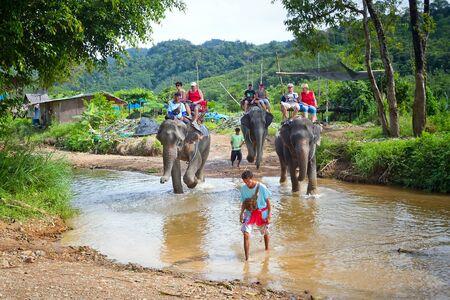 sok: People on the elephant trekking ride in Khao Sok National Park