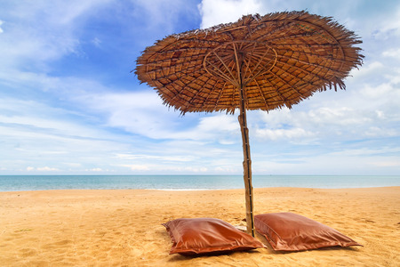 koh kho khao: Tropical beach scenery with parasol and beds in Thailand