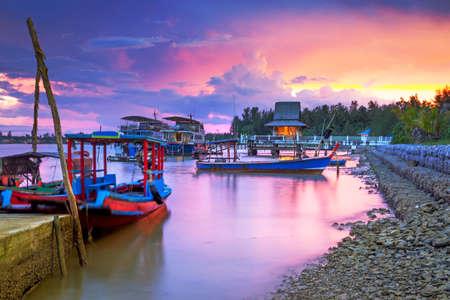 koh kho khao: Amazing sunset at the harbor of Koh Kho Khao island, Thailand
