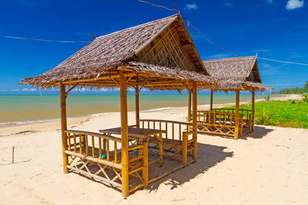 koh kho khao: Tropical beach scenery with small huts in Thailand