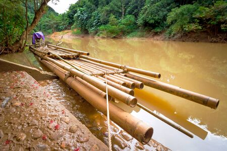 sok: Bamboo raft on the river of Khao Sok National Park, Thailand