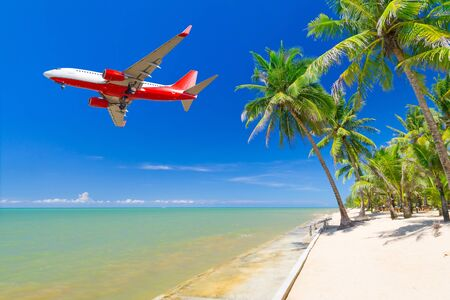 holidays: Flying for tropical holidays Stock Photo