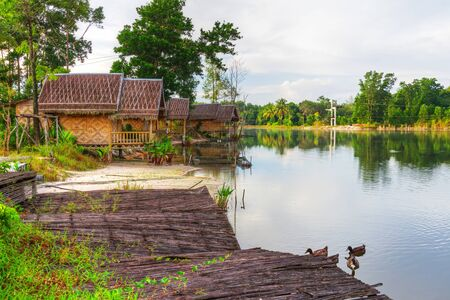 koh kho khao: Small village by the pond in Thailand Stock Photo