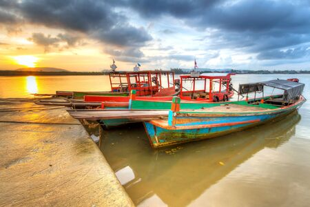 koh kho khao: Sunrise at the harbor of Koh Kho Khao island, Thailand
