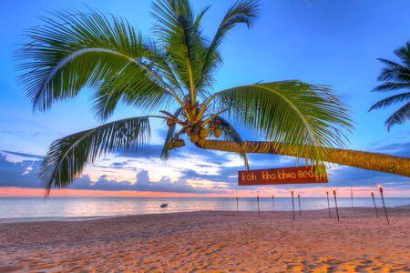 koh kho khao: Coconut palm tree at sunset on Koh Kho Khao island, Thailand Stock Photo