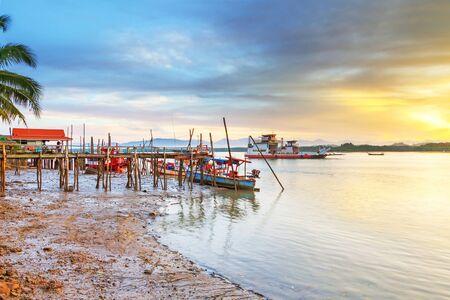 koh kho khao: Sunrise at the river in Koh Kho Khao, Thailand