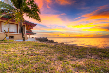 koh kho khao: Sunset on the beach of Koh Kho Khao island in Thailand Stock Photo