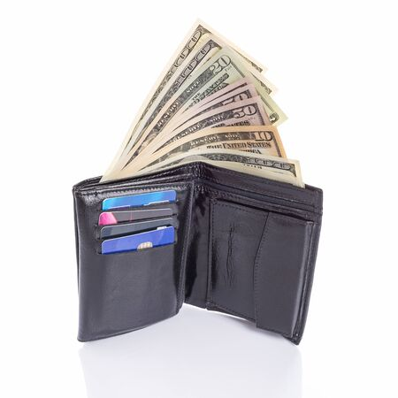 50 dollar bill: Black leather wallet with money over white background