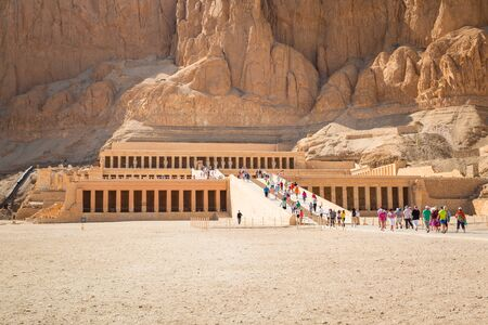 mortuary: Tourists at the Mortuary Temple of Queen Hatshepsut located near the Valley of the Kings, Egypt