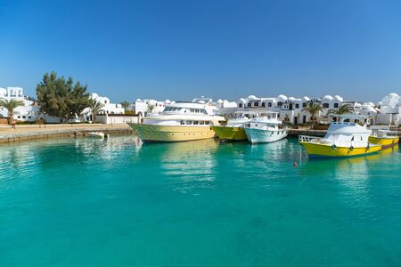 hurghada: Boat harbor in Hurghada, Egypt Stock Photo