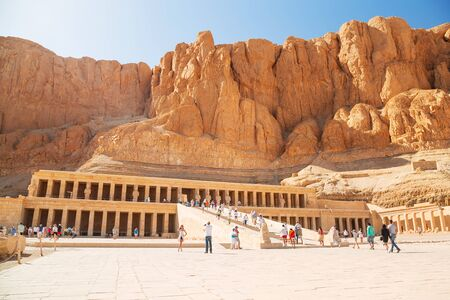 Tourists at the Mortuary Temple of Queen Hatshepsut located near the Valley of the Kings, Egypt