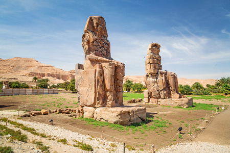 thebes: The Colossi of Memnon in Luxor, Egypt Stock Photo