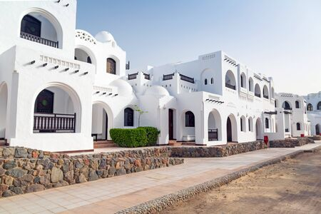 hurghada: White architecture of streets in Hurghada, Egypt Stock Photo