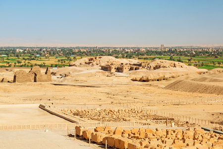 archaeologist: Desert at the Temple of Queen Hatshepsut with archaeologist house in Egypt Stock Photo
