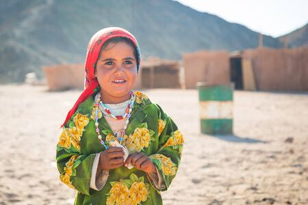 bedouin: Bedouin girl in the village on the desert near Hurghada