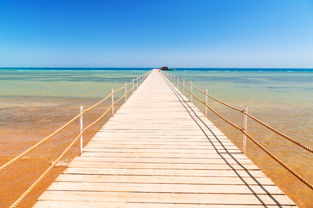 hurghada: Pier on the beach of Red Sea in Hurghada, Egypt Stock Photo