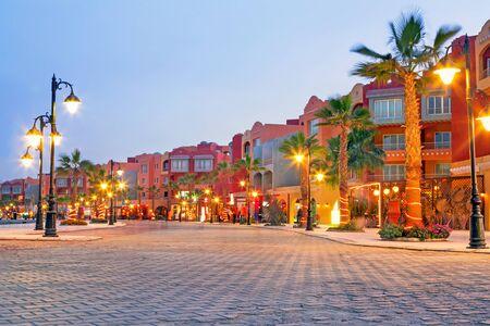 Beautiful architecture of Hurghada Marina at dusk in Egypt Stock Photo