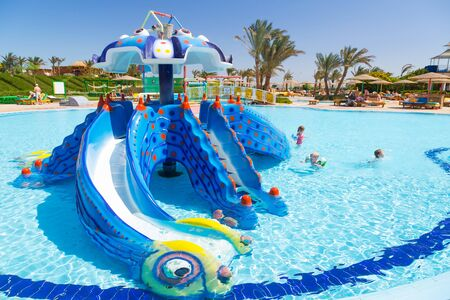 seaside resort: Childrens slide at the Three Corners Sunny Beach tropical resort in Hurghada