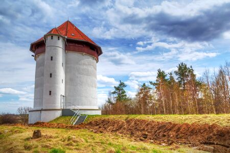 hydroelectricity: White tower of hydroelectricity in Bielkowo, Poland Editorial