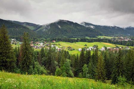 giewont: Tatra mountains in Zakopane on a cloudy day, Poland