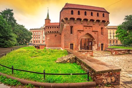 outpost: Cracow barbican - medieval fortifcation at city walls, Poland Editorial