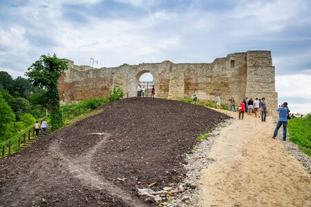 kazimierz dolny: People walking at the castle ruins in Kazimierz Dolny Editorial