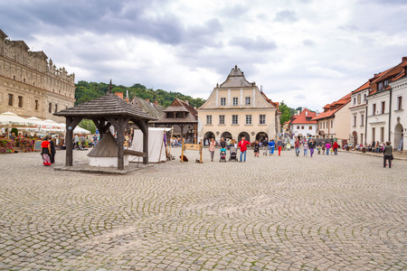 kazimierz dolny: People walking in the old town of Kazimierz Dolny at Vistula river Editorial