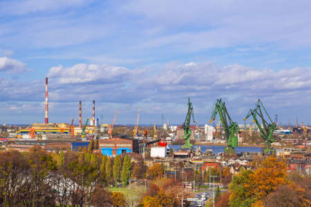 shipper: Industrial part of Gdansk with shipyard cranes, Poland