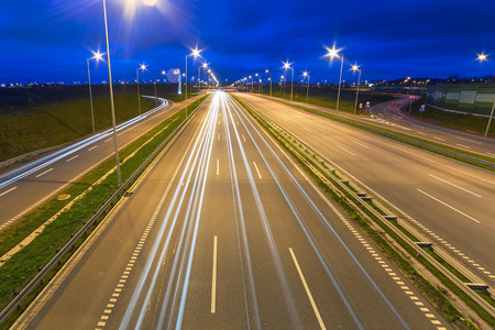 bypass: Highway bypass of Gdansk at night, Poland Stock Photo