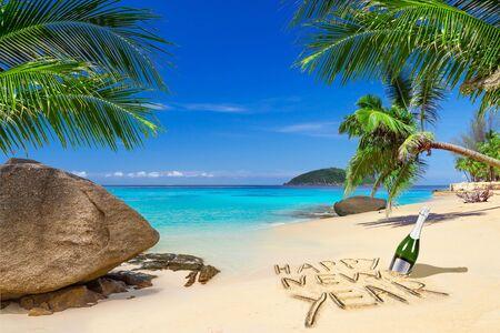 熱帯のビーチでの幸せな正月 写真素材 - 59458662