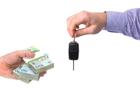 Buying new car with cash concept over white background