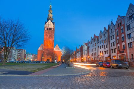 st nicholas cathedral: St. Nicholas Cathedral in old town of Elblag at night, Poland