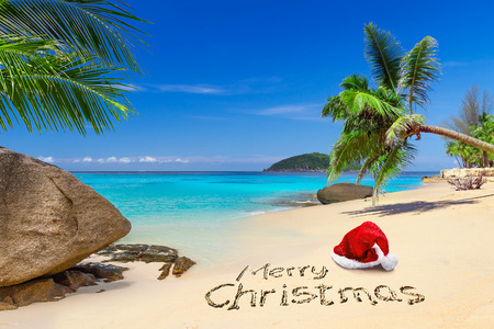 De vrolijke groet van Kerstmis met kerstmuts op het tropische strand