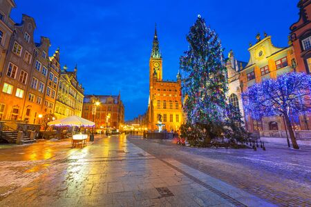 the old town hall: Old town of Gdansk with Christmas tree, Poland Stock Photo