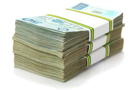 money stack: Stack of polish zloty banknotes Stock Photo