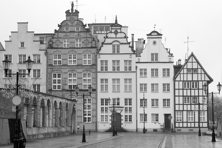 riverside county: Old town of Elblag in black and white, Poland Stock Photo