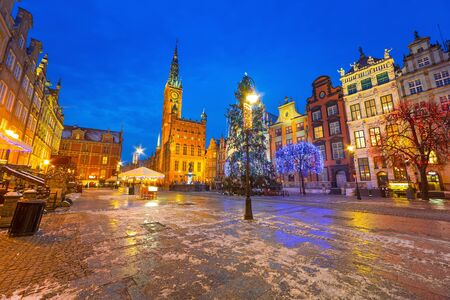 Old town of Gdansk with Christmas tree, Poland Stok Fotoğraf