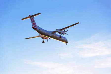 aircraft landing: Eurolot aircraft landing on Lech Walesa Airport in Gdansk