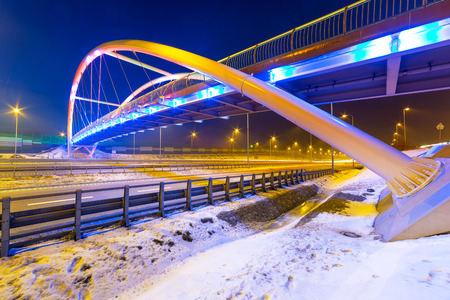bypass: Architecture of bridge over bypass in Gdansk at night, Poland