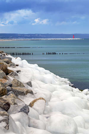 shorelines: Icy Baltic sea coast at winter time, Poland Stock Photo