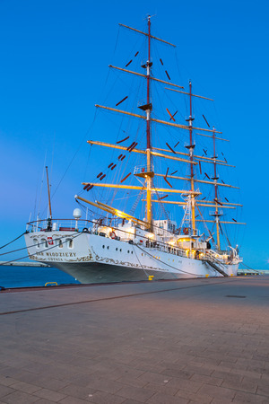 ship with gift: Polish sail training ship The Gift of Youth at the Baltic Sea in Gdynia
