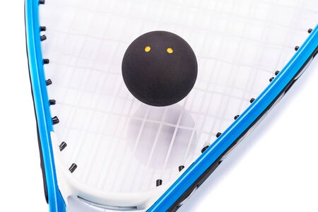 Raquet: Squash racket and ball over white background Stock Photo
