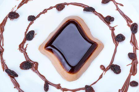 panna: Coffee panna cotta dessert on the plate
